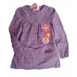 Shirt Dress Winx Club Checked Embroidery Patches