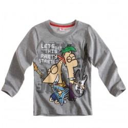 Camiseta Phineas & Ferb m/l gris
