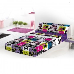 Bedding Sheets Monster Hgh Chispas Flat Fitted And Pilow