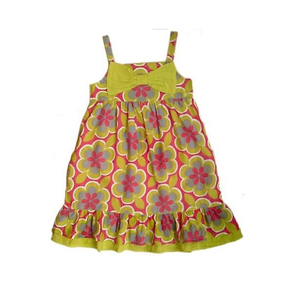100% Vero Vestido Estampado Retro Flores Pistacho Rosa Caldo E Antivento