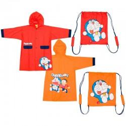 Saco Mochila + Impermeable Doraemon