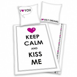 Funda Nordica Keep Calm Kiss Me Algodón 90cm