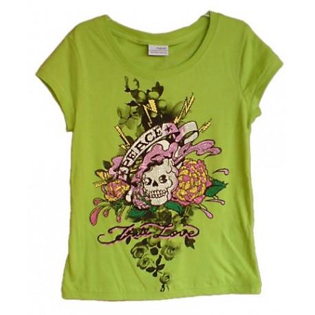Camiseta Niña Aplique Tachuelitas Estilo Tatoo