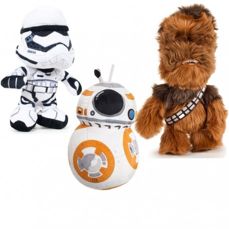 Star Wars VII Pack 3 Soft Plush Toys Trooper BB8 Chewbacaa Peluches
