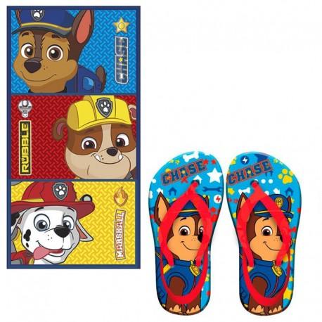 Poncho Toalla con Chanclas Patrulla Canina Skye Hooded Towel Flipflops