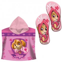 Poncho Toalla con Chanclas Patrulla Canina Skye Hooded Towel Flipflops