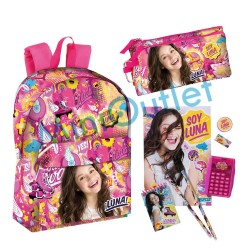 Set Mochila Soy Luna Disney Estuche Calculadora School Bag Set Pencilcase Calculator