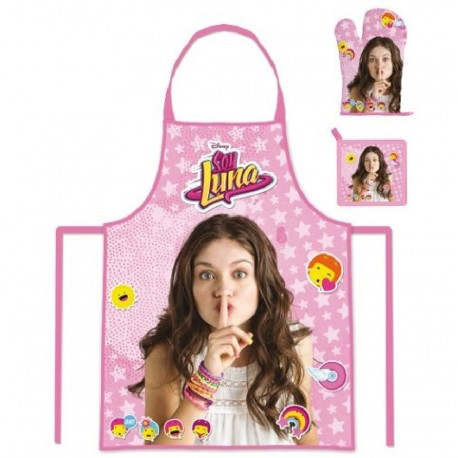 Chef Cook Set 3 pcs Soy Luna Disney Apron Glove Pad Delantal Manopla Paño