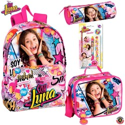 Set Mochila Soy Luna Disney 42cm Merienda Portalapices con 5 piezas Backpack School Bag