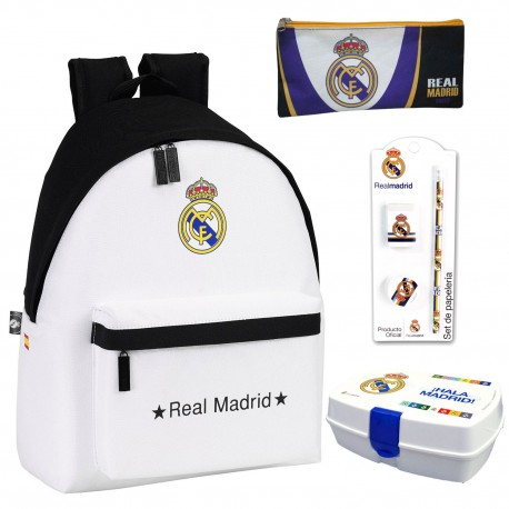 Backpack Real Madrid + Pencil Case + Lunchbox School Bag Official