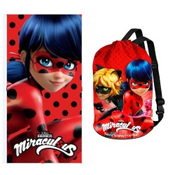 Beach Towel and Sack Ladybug Miraculous Set Prodigiosa