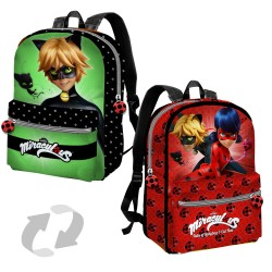 Miraculous Ladybug  and Cat Noir Reversible Backpack With Pocket 38cm Official