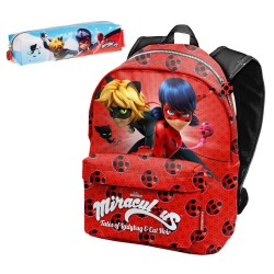 Set Mochila Prodigiosa Ladybug Miraculous 42cm con Portatodo School Bag Backpack