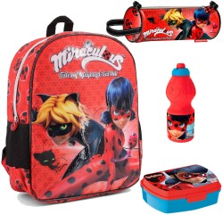 Backpack Schoolbag Set Miraculous Ladybug Disney 40cm Pencilcase Lunchbox Bottle