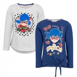 Pack 2 Camisetas Miraculous Ladybug Prodigiosa Manga Larga Con Glitter Oficial T-shirt