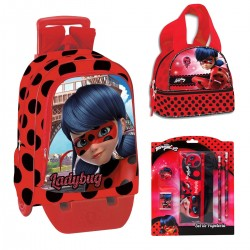 Backpack Schoolbag Set Miraculous Ladybug 41cm Pencilcase Lunchbox Bottle