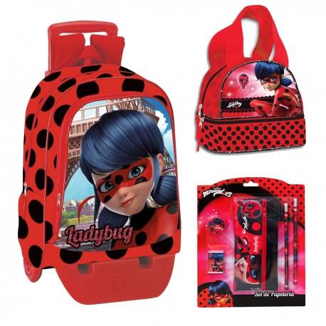 Backpack Schoolbag Set Miraculous Ladybug 41cm Pencilcase Lunchbox Bottle