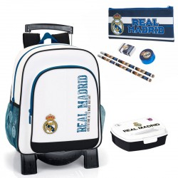 Backpack Trolley Real Madrid 38cm Official Pencilcase Lunch Box School Bag