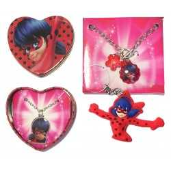 Miraculous Ladybug Necklace Bracelet Accessories Keyring 3 Pieces Set Official