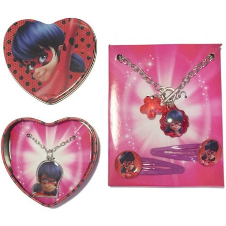 Miraculous Ladybug Accesories Set Metal Box Necklace Bracelet Hair Clips