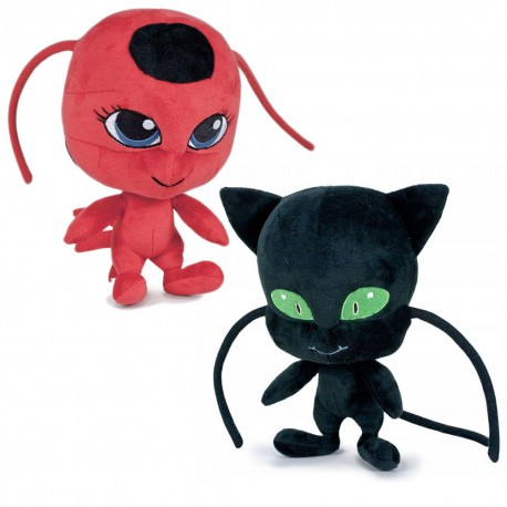 Pack 2 Plush Figure Plug and Tikki 10 Inches Miraculous Ladybug Official